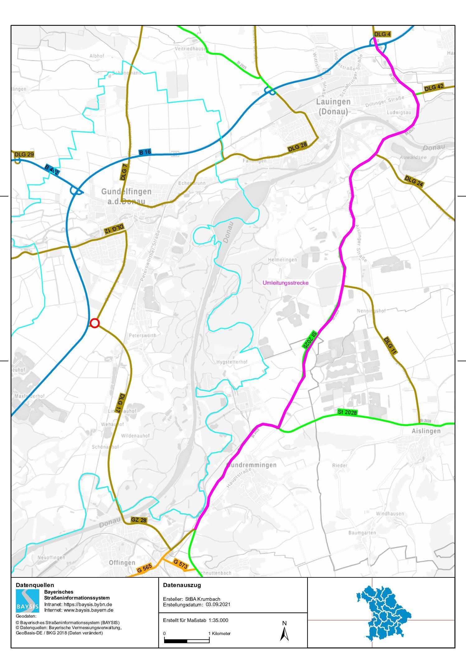 Ausbau B 16, Vollsperrung der Anschlussstelle ab dem 08.09.2021
